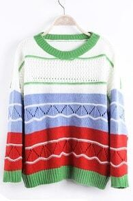 Blue Contrast Red Striped Eyelet Knit Drop Shoulder Sweater