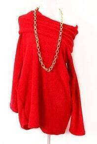 Red Off the Shoulder Long Sleeve Pleated Sweater