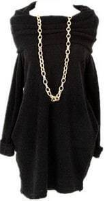 Black Off the Shoulder Long Sleeve Pleated Sweater