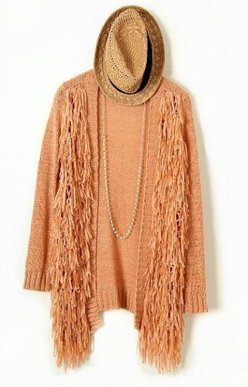 Orange Long Sleeve Tassel Loose Cardigan Sweater