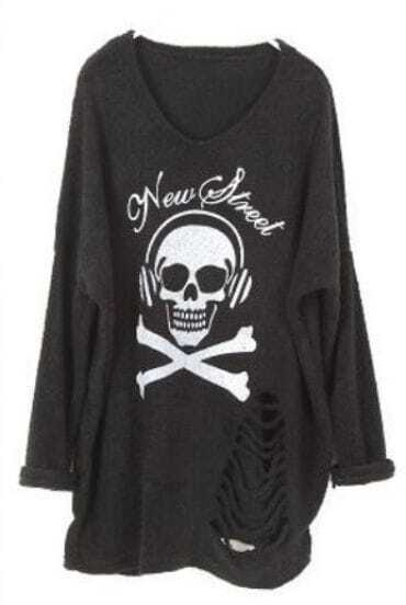 Black Long Sleeve Skull Print Ripped Sweater
