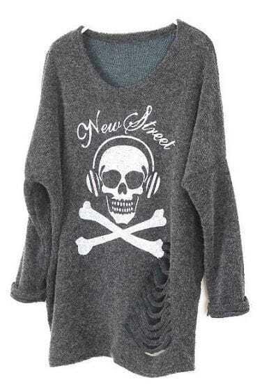 Dark Grey Long Sleeve Skull Print Ripped Sweater