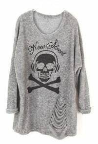 Light Grey Long Sleeve Skull Print Ripped Sweater
