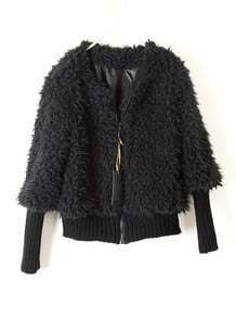 Black Long Sleeve Zipper Plush Crop Jacket