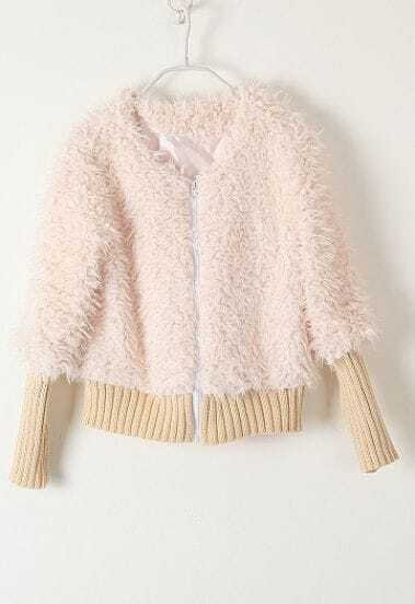Beige Long Sleeve Zipper Plush Crop Jacket