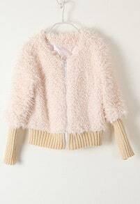 Beige Long Sleeve Zipper Plush Crop Jacket