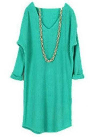 Turquoise V Neck Long Sleeve Long Sweater Dress
