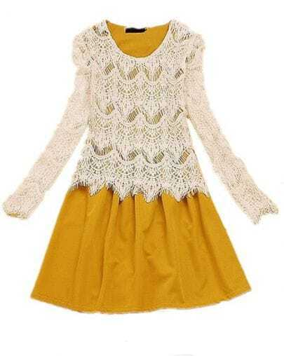 Yellow White Long Sleeve Lace Pleated Dress