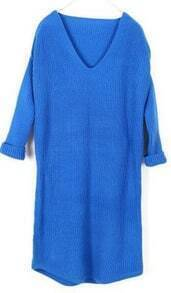 Blue V Neck Long Sleeve Long Sweater Dress