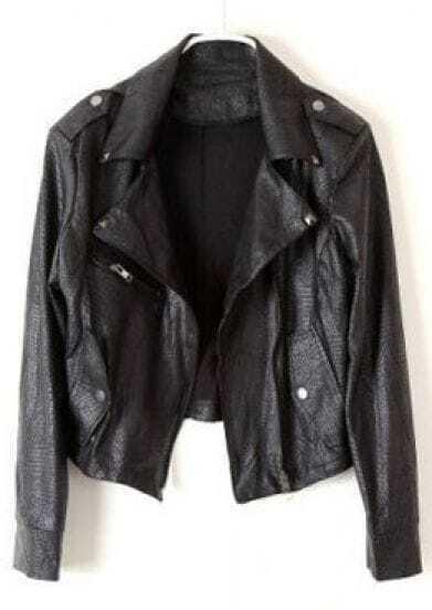 Black Long Sleeve Zipper Epaulet Crop Jacket