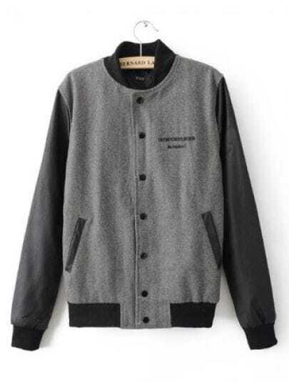 Grey Black Long Sleeve Eye Print Pockets Coat