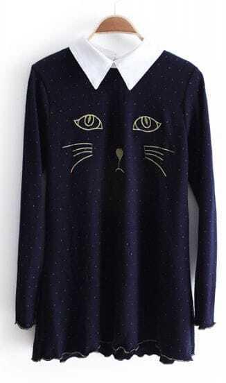 Navy Contrast Lapel Embroidery Cat V Mteallic Yoke Knit Mini Dress
