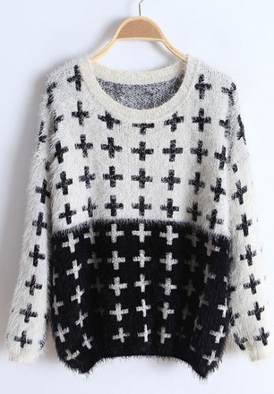 White Black Long Sleeve Cross Embroidery Sweater