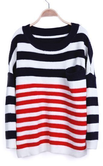 Navy White Red Striped Long Sleeve Batwing Sweater