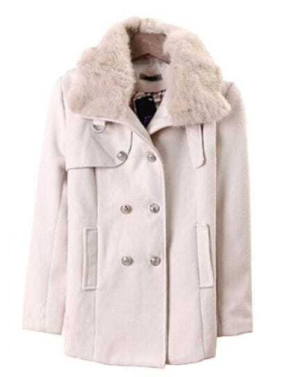 Beige Fur Lapel Long Sleeve Buttons Pockets Coat
