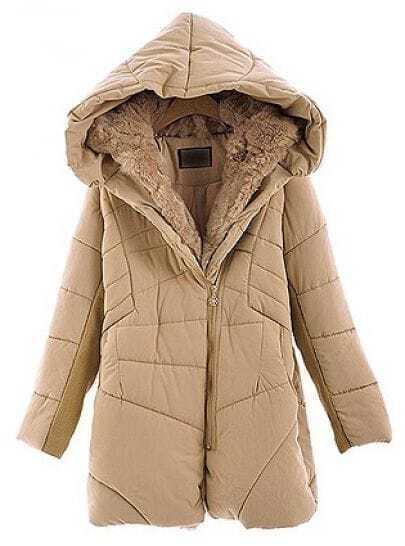 Light Brown Hooded Long Sleeve Zipper Fur Coat