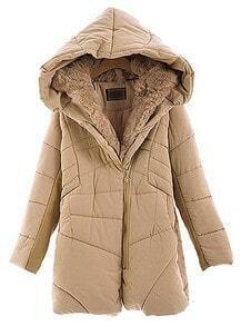 Light Brown Hooded Long Sleeve Zipper Fur Coat