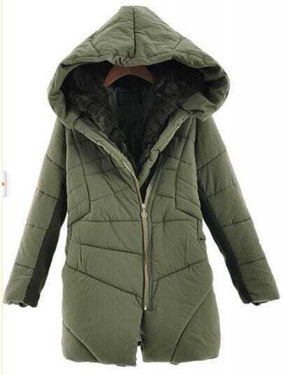 Green Hooded Long Sleeve Zipper Fur Coat