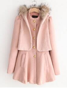 Pink Long Sleeve Ruffles Buttons Pockets Two Pieces Coat