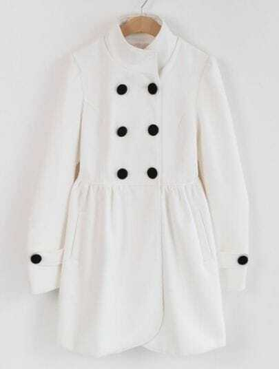 Beige High Neck Long Sleeve Ruffles Buttons Coat