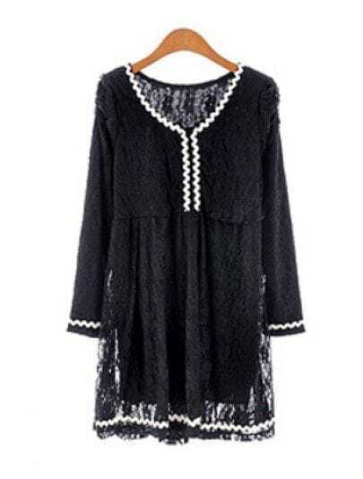 Black Puff Sleeve Contrast Trims Lace Dress