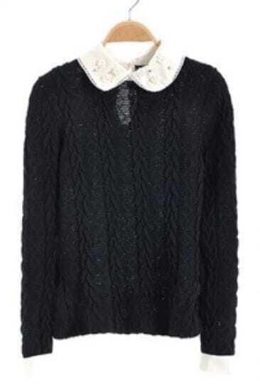 Black Pearls Lapel Long Sleeve Hollow Sweater