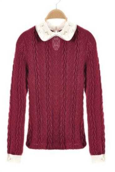 Wine Red Pearls Lapel Long Sleeve Hollow Sweater