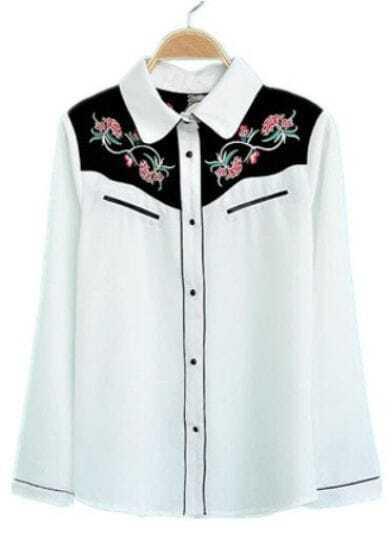 White Lapel Long Sleeve Embroidery Chiffon Blouse