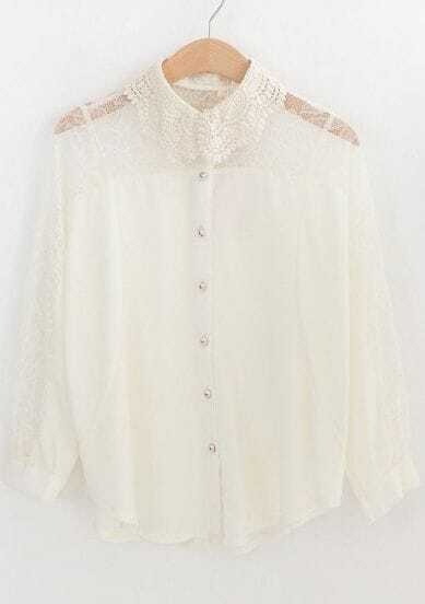 Beige Lapel Batwing Sleeve Embroidery Chiffon Blouse