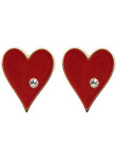 White Crystal Red Heart Stud Earrings