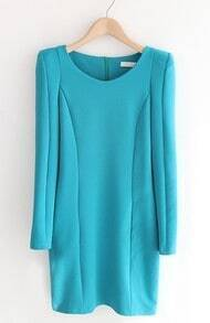 Blue Long Sleeve Shoulder Pads Sweater Dress