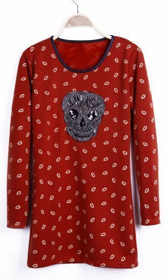 Orange Lips Print Sequin Skull Long Sleeve Basic T-shirt