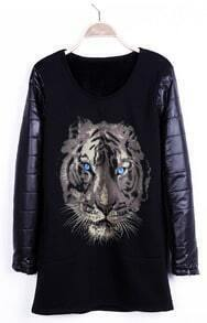 Black Tiger Print Contrast PU Leather Sleeve T-shirt
