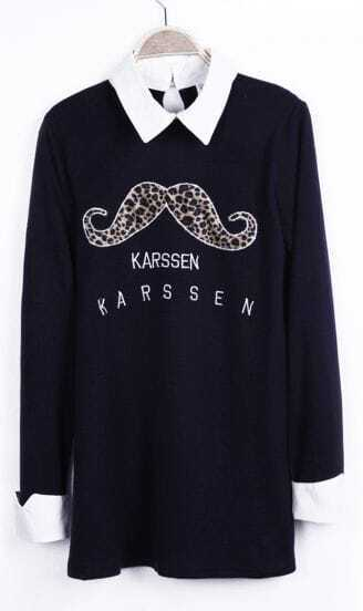 Black Contrast Collar Leapord Mustache KARSSEN Short Dress