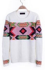 Beige Geometric Tribal Pattern Round Neck Pullover Sweater