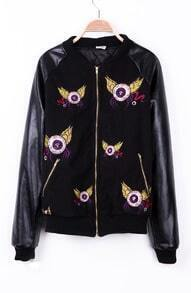 Black the Embroid Eye Ball Wing PU Leather Sleeve Varsity Jacket