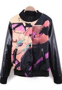 Black PU Leather Sleeve FGRL Back Leopard Print Varsity Jacket