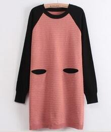 Pink Black Long Sleeve Striped Pockets Sweater Dress