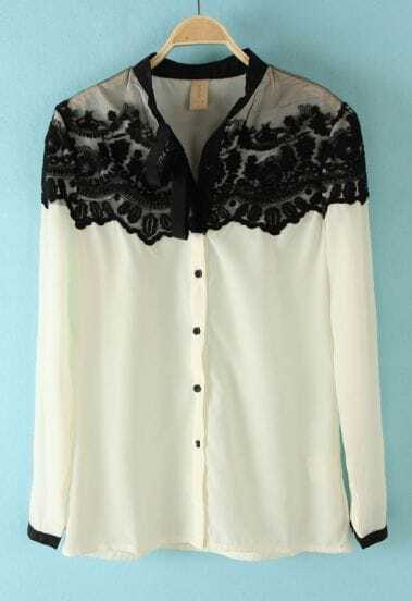 White Floral Lace Cape Collar Long Sleeve Chiffon Shirt