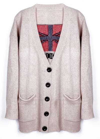Apricot Pockets Front Union Jack Pattern Back Sweater Coat