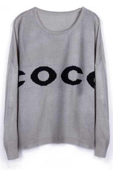 Grey Drop Shoulder COCO Batwing Sleeve Baisc Sweater