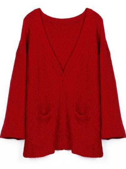 Red V-neck Simple Style Pockets Front Sweater Coat