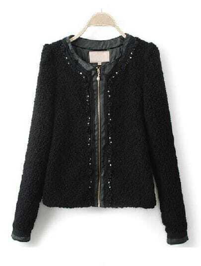 Black Long Sleeve Contrast PU Leather Pearls Coat