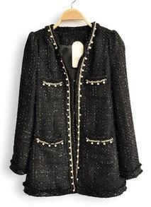 Black Long Sleeve Pearls Chain Pockets Coat