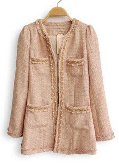 Pink Long Sleeve Pearls Chain Pockets Coat