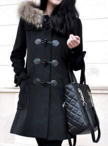 Black Fur Hooded Horn Button Pockets Coat