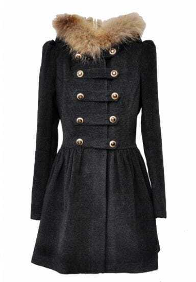 Dark Grey Fur Hooded Buttons Pleated Coat