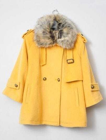 Yellow Fur Lapel Lapel Buttons Embellished Coat
