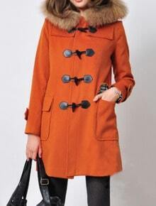 Orange Fur Hooded Horn Button Pockets Coat