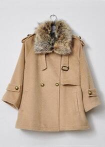 Light Camel Fur Lapel Lapel Buttons Embellished Coat